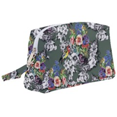 Vintage flowers and birds pattern Wristlet Pouch Bag (Large)