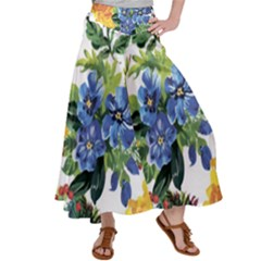 Flowers Painting Satin Palazzo Pants