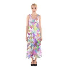 Mosaic Colorful Pattern Geometric Sleeveless Maxi Dress