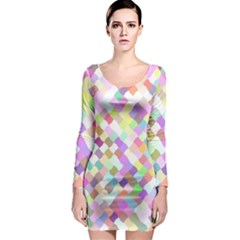 Mosaic Colorful Pattern Geometric Long Sleeve Bodycon Dress