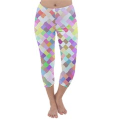 Mosaic Colorful Pattern Geometric Capri Winter Leggings
