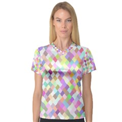 Mosaic Colorful Pattern Geometric V Neck Sport Mesh Tee