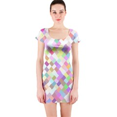 Mosaic Colorful Pattern Geometric Short Sleeve Bodycon Dress
