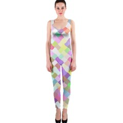 Mosaic Colorful Pattern Geometric One Piece Catsuit