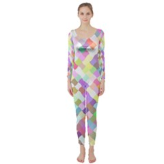Mosaic Colorful Pattern Geometric Long Sleeve Catsuit
