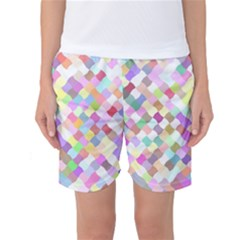 Mosaic Colorful Pattern Geometric Women s Basketball Shorts