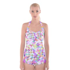 Mosaic Colorful Pattern Geometric Boyleg Halter Swimsuit