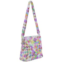 Mosaic Colorful Pattern Geometric Zipper Messenger Bag