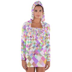 Mosaic Colorful Pattern Geometric Long Sleeve Hooded T Shirt