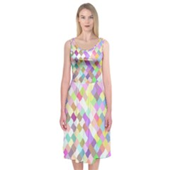Mosaic Colorful Pattern Geometric Midi Sleeveless Dress