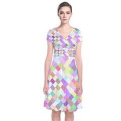 Mosaic Colorful Pattern Geometric Short Sleeve Front Wrap Dress
