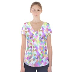 Mosaic Colorful Pattern Geometric Short Sleeve Front Detail Top