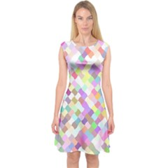 Mosaic Colorful Pattern Geometric Capsleeve Midi Dress