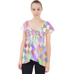 Mosaic Colorful Pattern Geometric Lace Front Dolly Top