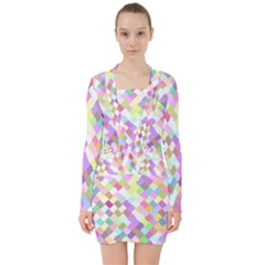 Mosaic Colorful Pattern Geometric V Neck Bodycon Long Sleeve Dress