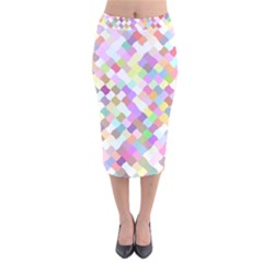 Mosaic Colorful Pattern Geometric Velvet Midi Pencil Skirt
