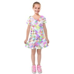 Mosaic Colorful Pattern Geometric Kids  Short Sleeve Velvet Dress
