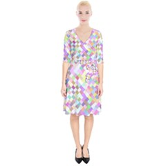 Mosaic Colorful Pattern Geometric Wrap Up Cocktail Dress