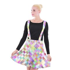 Mosaic Colorful Pattern Geometric Suspender Skater Skirt