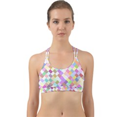 Mosaic Colorful Pattern Geometric Back Web Sports Bra