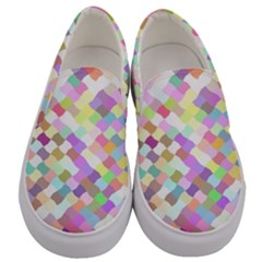 Mosaic Colorful Pattern Geometric Men s Canvas Slip Ons