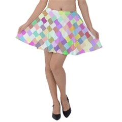Mosaic Colorful Pattern Geometric Velvet Skater Skirt