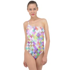 Mosaic Colorful Pattern Geometric Classic One Shoulder Swimsuit