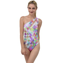 Mosaic Colorful Pattern Geometric To One Side Swimsuit