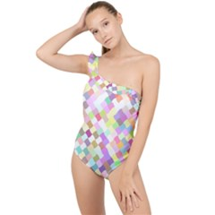 Mosaic Colorful Pattern Geometric Frilly One Shoulder Swimsuit