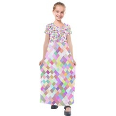 Mosaic Colorful Pattern Geometric Kids  Short Sleeve Maxi Dress