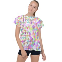 Mosaic Colorful Pattern Geometric Ruffle Collar Chiffon Blouse