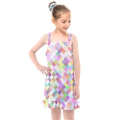 Mosaic Colorful Pattern Geometric Kids  Overall Dress
