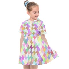 Mosaic Colorful Pattern Geometric Kids  Sailor Dress
