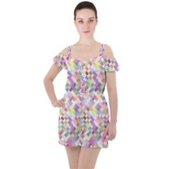 Mosaic Colorful Pattern Geometric Ruffle Cut Out Chiffon Playsuit