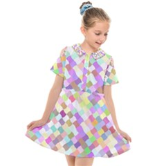 Mosaic Colorful Pattern Geometric Kids  Short Sleeve Shirt Dress