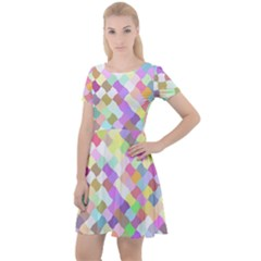 Mosaic Colorful Pattern Geometric Cap Sleeve Velour Dress