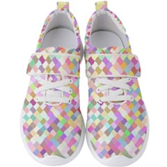 Mosaic Colorful Pattern Geometric Men s Velcro Strap Shoes