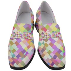 Mosaic Colorful Pattern Geometric Women s Chunky Heel Loafers