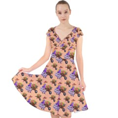 Flowers Girl Barrow Wheel Barrow Cap Sleeve Front Wrap Midi Dress