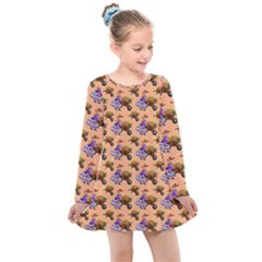 Flowers Girl Barrow Wheel Barrow Kids  Long Sleeve Dress