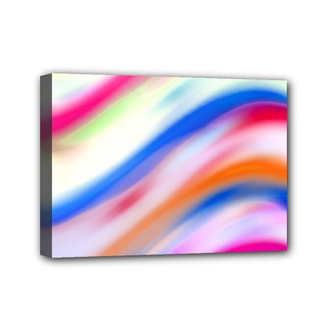 Vivid Colorful Wavy Abstract Print Mini Canvas 7  X 5  (stretched)