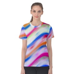 Vivid Colorful Wavy Abstract Print Women s Cotton Tee