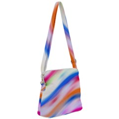 Vivid Colorful Wavy Abstract Print Zipper Messenger Bag