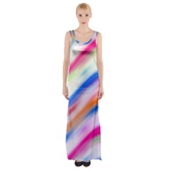 Vivid Colorful Wavy Abstract Print Maxi Thigh Split Dress