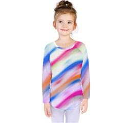 Vivid Colorful Wavy Abstract Print Kids  Long Sleeve Tee