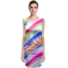 Vivid Colorful Wavy Abstract Print Sleeveless Velvet Midi Dress by dflcprintsclothing