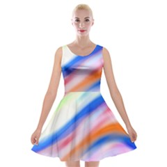 Vivid Colorful Wavy Abstract Print Velvet Skater Dress