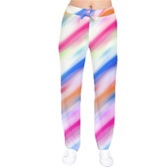 Vivid Colorful Wavy Abstract Print Velvet Drawstring Pants