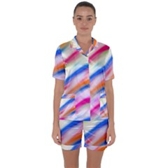 Vivid Colorful Wavy Abstract Print Satin Short Sleeve Pyjamas Set