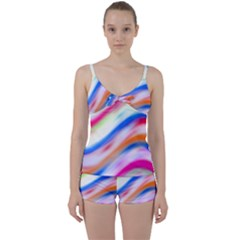 Vivid Colorful Wavy Abstract Print Tie Front Two Piece Tankini